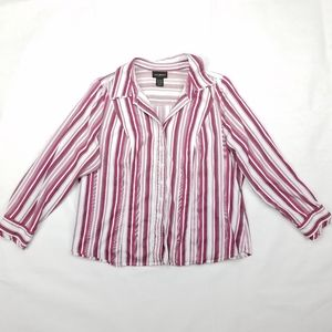 Lane Bryant Button Down Vertical Striped Top